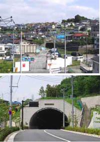 住宅地内を通る「つつじヶ丘トンネル」